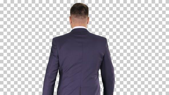 Confident businessman walking, Alpha Channel