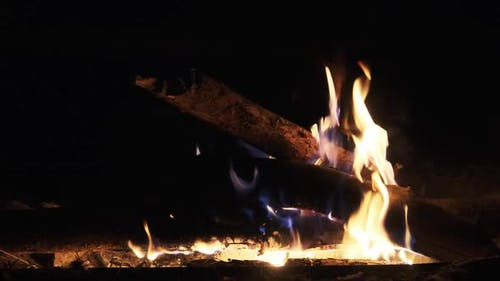 Bonfire Burning at Night in Slow Motion. Flames of Campfire at Nature.
