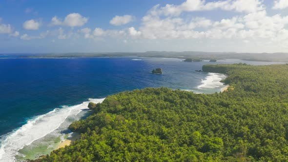 Thumbnail for Aerial View Tropical Beach Island and Sea Bay Lagoon, Siargao. Tropical Landscape Hills and