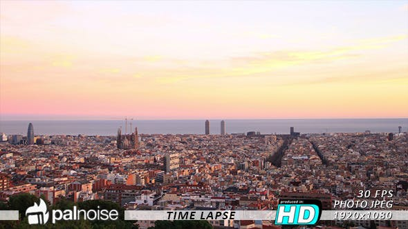 Thumbnail for Barcelona Sunset Skyline