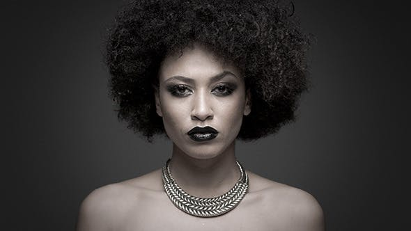 Thumbnail for Glamour African American Girl Posing on Dark