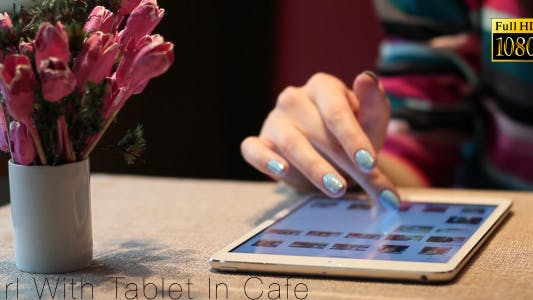 Thumbnail for Girl With Tablet In Cafe 2