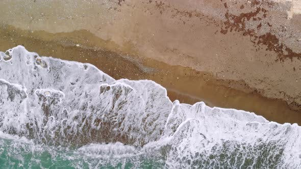 Thumbnail for Powerful Waves Crashing on Deserted Sandy Beach, Top View
