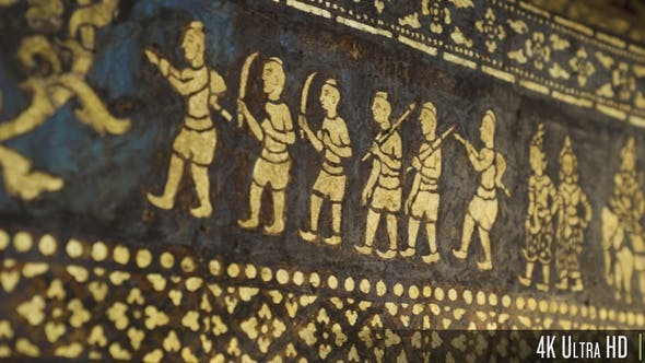Thumbnail for 4K Wall Paintings Stencil in Wat Xieng Thong Temple in Luang Phrabang, Laos