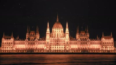 Starry sky above Hungarian Parliament