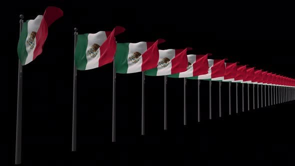 Row Of Mexico Flags With Alpha 4K