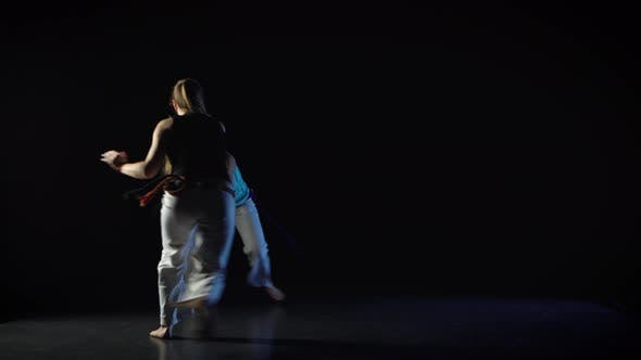 Two Women Are Performing Martial Art of Capoeira
