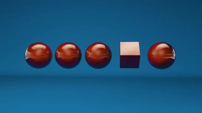 3D animation of red balls and one cube on a blue background. Abstract 4K animation, 3D rendering.