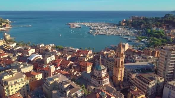 Luftaufnahme der italienischen Riviera, Rapallo, Italien