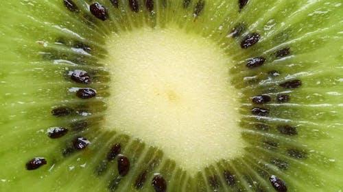 Extreme close-up of kiwi cut