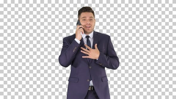 Successful Man in Suit Speaks on Phone and Walks, Alpha Channel