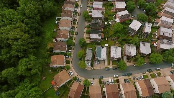 Thumbnail for Aerial View Establishing Shot of American Neighborhood,, Suburb. Real Estate, Drone Shots, Top View