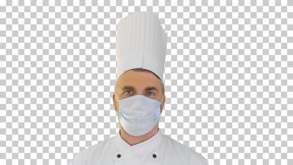 Thumbnail for Male chef cook wearing face protective, Alpha Channel