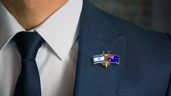 Cover Image for Businessman Friend Flags Pin Israel Australia