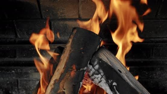 Thumbnail for Bonfire Burning Trees, Close Up Camping Fire, Burning Firewood, Slow Motion. Close Up V2