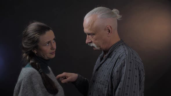 Thumbnail for Guilty Grey Haired Pensioner Leads Finger on Angry Woman