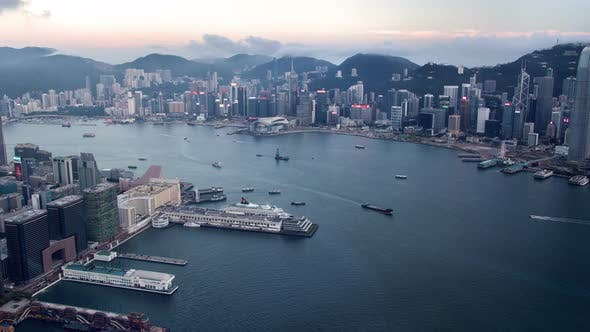 Hong Kong Urban Cityscape Aerial Skyline Panorama Timelapse at Day Pan Up