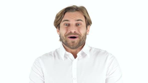 Amazed Man on white Background