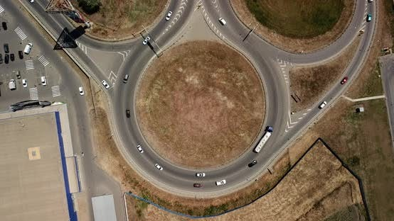 Thumbnail for Top Down View of Transport Junction, Traffic Circle