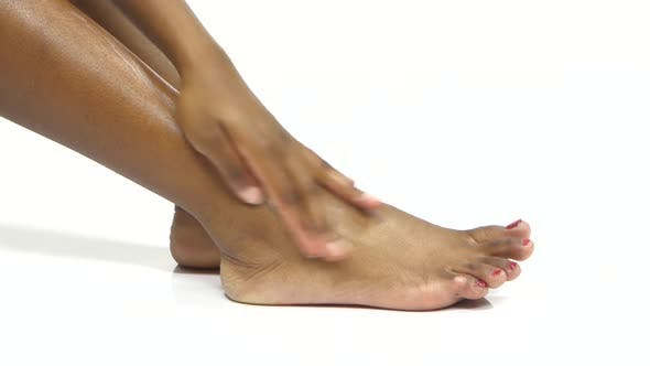 Thumbnail for Leg Skin Moisturizing. Foot Massage. White. Close Up