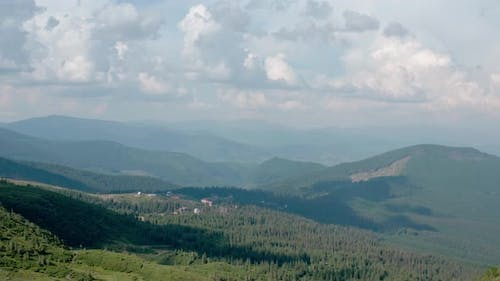 Aerial Drone View, Green Mountains Without Trees, on a Background of Blue Sky Svydovets Dragobrat