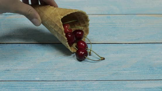 Thumbnail for Berry Ice Cream. Berries of Cherry in a Waffle on a Blue Wooden Background