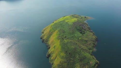 Aerial: flying over lake Toba and Samosir Island Sumatra Indonesia