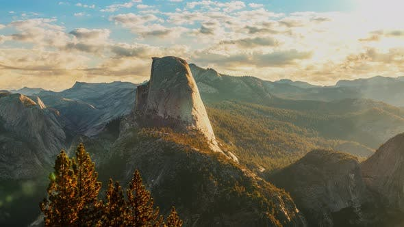 Thumbnail for Time Lapse of the clouds moving behind Half Dome in Yosemite National Park