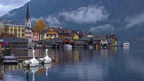 Traditional Homes near Lake in Famous Hallstatt Village in Salzkammergut Area Austria