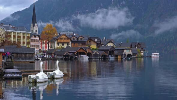 Traditional Homes near Lake in Famous Hallstatt Village in Salzkammergut Area Austria