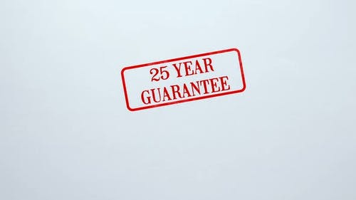 25 Jahre Garantie Siegel auf Blankopapier Hintergrund gestempelt, Produktqualität