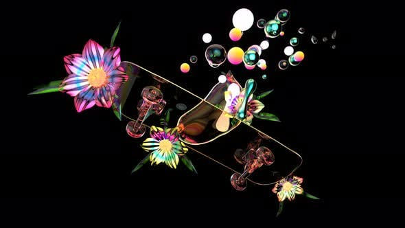 4K abstract art of a skateboard with flowers and bubbles