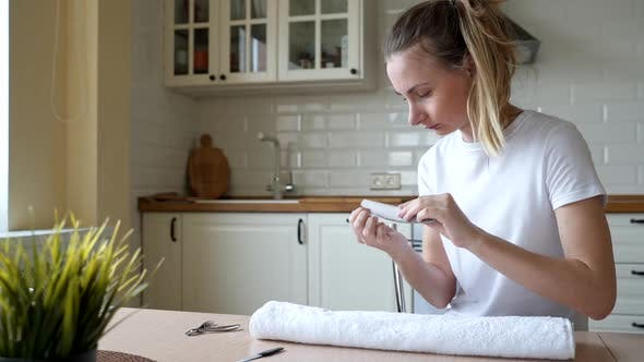 Thumbnail for Attractive Young Woman Doing Manicure at Home, Smiling Girl Filing Shaping Nails with Emery Board
