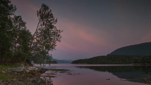 sunset lake water norway nature timelapse