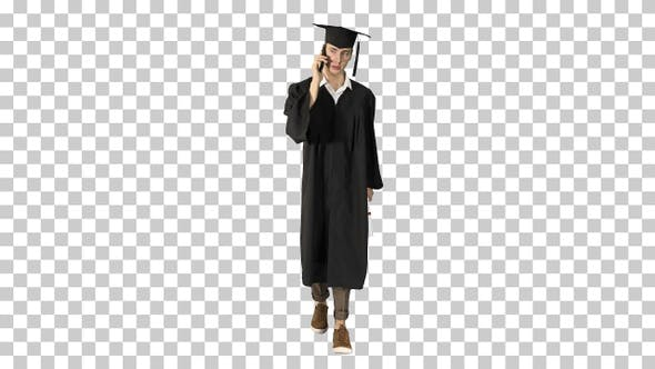 Thumbnail for Happy graduating student walking and making a call, Alpha Channel