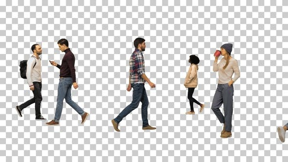 Thumbnail for Different Casual People Walking By, Alpha Channel