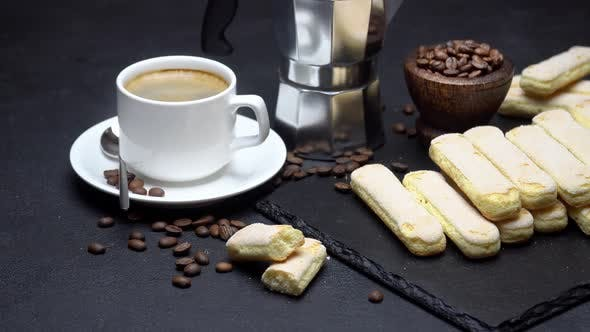 Thumbnail for Italian Savoiardi Ladyfingers Biscuits and Cup of Coffee on Concrete Background