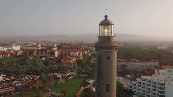 Maspalomas Lighthouse in Tourist Town, Gran Canaria