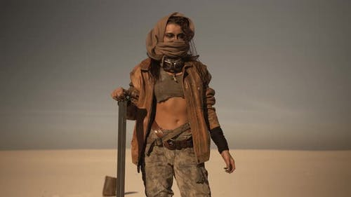 Postapocalyptic Woman Outdoors in a Wasteland