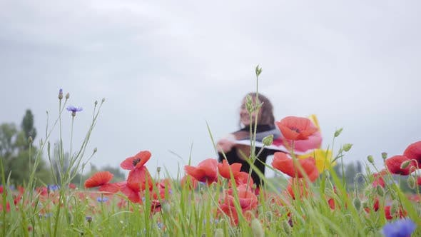 Thumbnail for Adorable Young Girl Dancing in a Poppy Field Holding Flag of Germany in Hands Outdoors