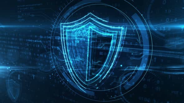 Shield cyber security symbol abstract animation