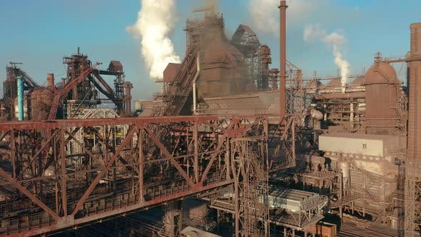Thumbnail for Aerial View. Blast Furnace Construction. Metallurgical Plant, Cargo Crane
