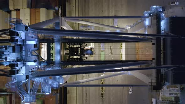 Thumbnail for Logistic in Port Miami. Operating Loading Crane, Top Down View on Working Mechanism.