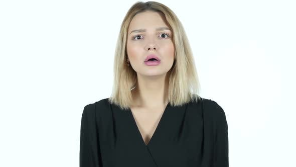 Young Woman in Shock, White Background