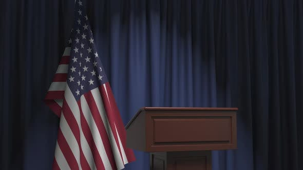 Thumbnail for Flag of the United States and Speaker Podium Tribune