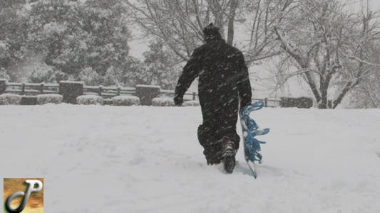 Thumbnail for Snowboarder Walking In a Winter Storm
