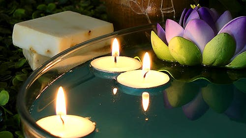 Waterlily and Candles on the Water 2