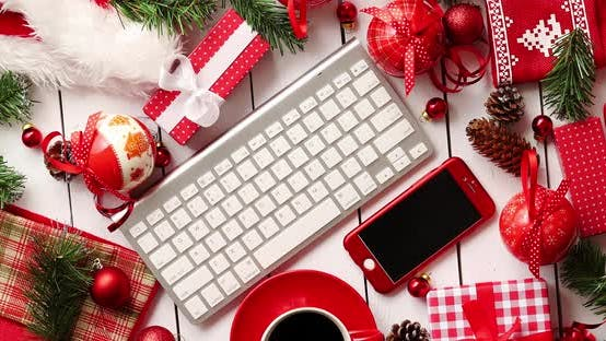 Christmas Presents And Decorations Around Gadgets Beverage
