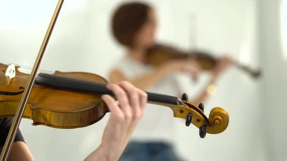Violin Playing Closeup Blurred Background
