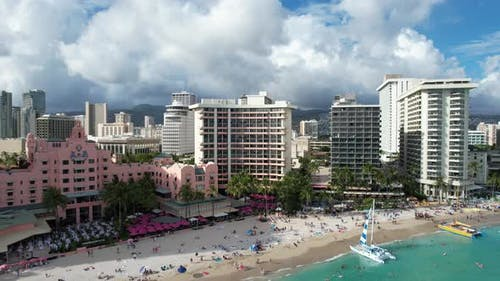 Pulling Back From Waikiki Aerial 4 K